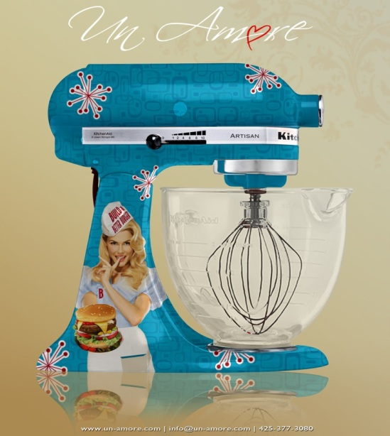 BBB custom vintage burger themed mixer, orginal image by the amazing Michael Elins! With approval of course! ;)