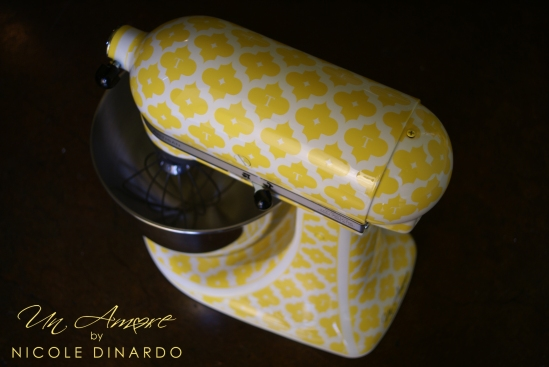 Yellow Quatrefoil Painted KitchenAid Mixer completed