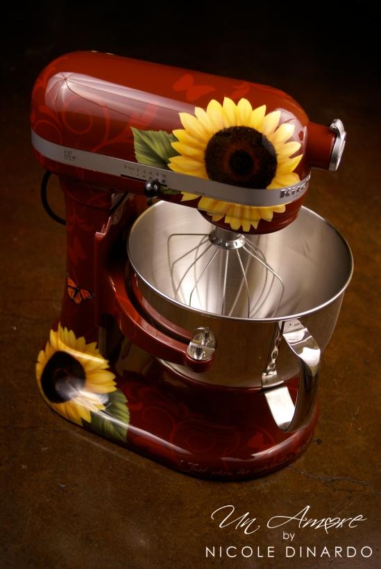 Sunflowers on dark red