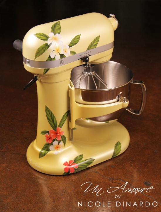 Kitchenaid mixer painted with pink and white flowers